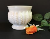Milk Glass Bowl - Randall Pedestal Planter - Milk Glass Cachepot - Milk Glass Vase - Wedding Table Decor - Leaf Wheat Feather - Milk Glass