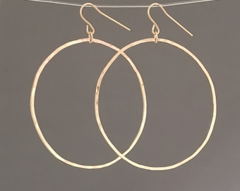 GOLD FILL Hammered Circle Earrings also in Sterling Silver and Rose Gold Fill