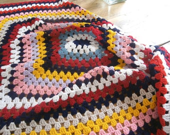 "34"" Granny Squares Crochet Knit Blanket"