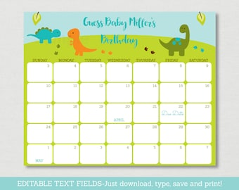 Cute Dinosaur Baby Due Date Calendar / Dinosaur Baby Shower / Birthday Predictions Calendar / Baby Boy / INSTANT DOWNLOAD Editable PDF A173