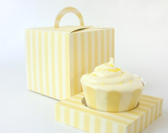 Posh Yellow Stripes Printable Cupcake Holder Box