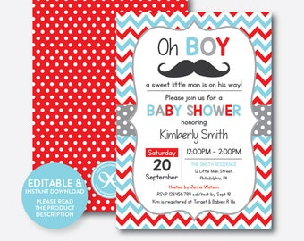 Mustache baby shower invitation etsy instant download editable mustache baby shower invitation mustache invitation little man boy baby shower red blue chevron sbs28 filmwisefo