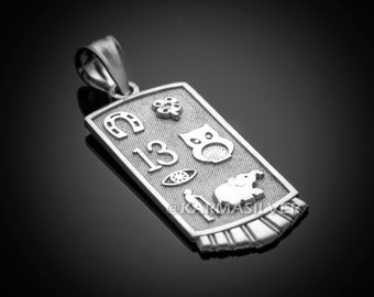 Sterling Silver Lucky Charm Good Luck Symbols Talisman Pendant Necklace