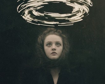 Conjuring - FREE SHIPPING Surreal Photo Print Dark Art Magic Creepy Portrait Image Light Circle Wormhole Woman Face Dark Black Haunting