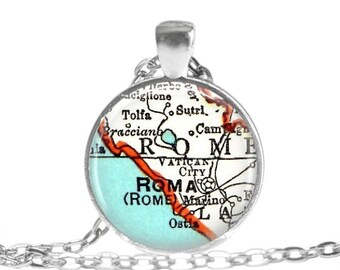 Rome, Italy necklace pendant, Italy Jewelry, Rome Vatican City map necklace, Italian jewelry, available as a money clip, cufflinks, A185
