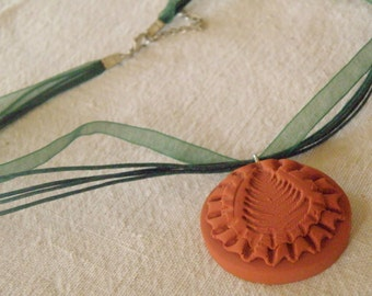 Necklace Choker, LEAF MEDALLION Clay Terra Cotta Pendant on Forest Green Ribbon (891)