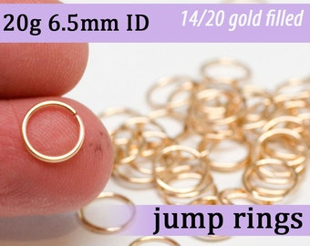 20g 6.5mm ID 8.2mm OD gold filled jump rings -- 20g6.50 goldfill open jumprings 14k goldfilled