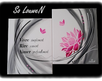 Diptych painting FLOWER 80 x 58 cm pink, grey, white, black Butterfly quote lotus flower