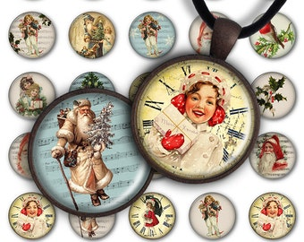 75% OFF SALE Digital Collage Sheet Xmas PC046 1 inch round 1 inch circle 25 mm 30 mm Round Pendant Printable Download Jewelry Making