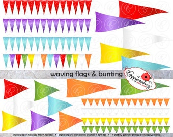 Waving Flags and Bunting Digital Labels and Borders: Clip Art Pack Card Making Digital Frames Page Borders Flags Banners
