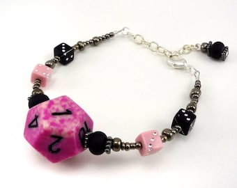 Pink, black, and silver D12 beaded dice bracelet