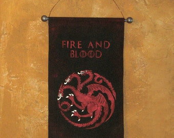 """Hand Painted  """"Fire and Blood"""" House Targaryen Canvas Banner - Game of Thrones - Three Headed Dragon - Sigil - Wall Art - Sign"""