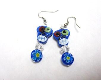 Day Of The Dead Earrings Sugar Skull Blue Lampwork