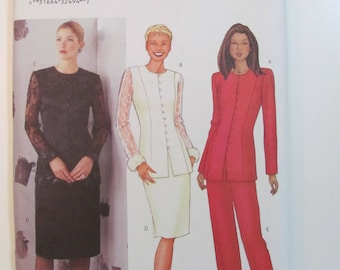 Butterick 6821 Jacket and Pencil Skirt or Pants Suit Sewing Pattern for Misses or Petite Unused 2000 Sizes 14-16-18