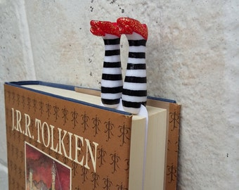Dorothy - wizard of OZ Gold Glittery magic shoes bookmark for read lovers custom bookmarks, Dorothy legs bookmark with striped pantyhose