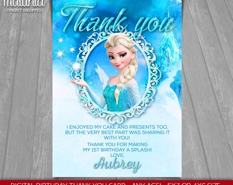 Frozen Elsa thank you card - Disney Queen Elsa card - Frozen Elsa Birthday Greeting Printed or Printable Card - Disney Frozen Party