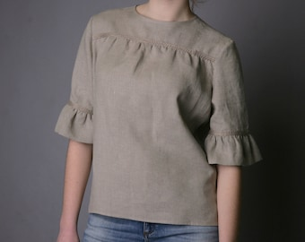 Linen  Blouse Fashionable/ Flax Blouse With Frill Sleeves/ Linen Blouse Elegant/ Linen Blouse 3/4 Sleeves/ Linen Top With Back Fastening