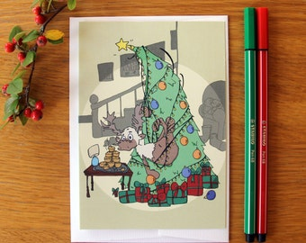 Christmas Card - Santa's Reindeer - Dasher - Cute Card - Greetings Card