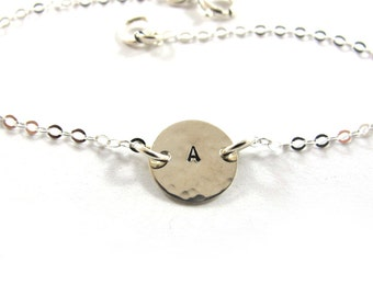 Personalized bracelet, Handstamped bracelet,  Initial Bracelet, Sterling Silver bracelet,  Free Shipping