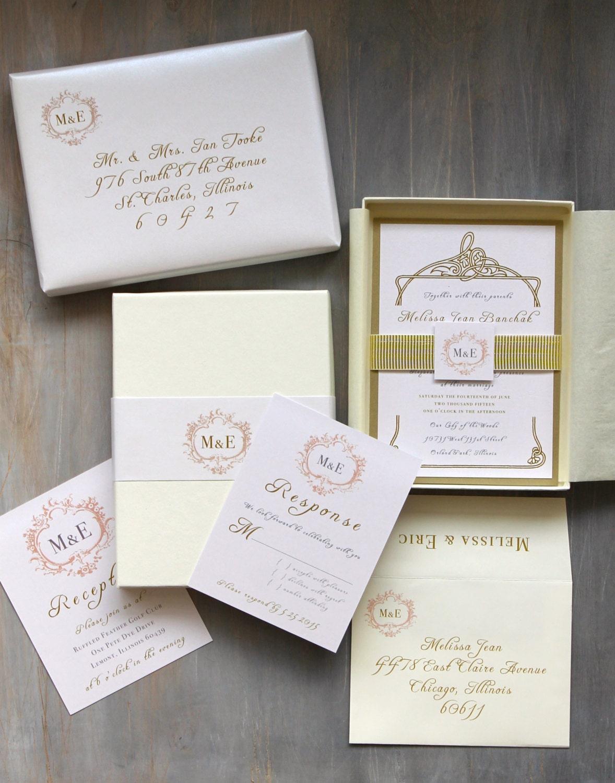 Luxury Elegant Boxed Wedding Invitations Gold White