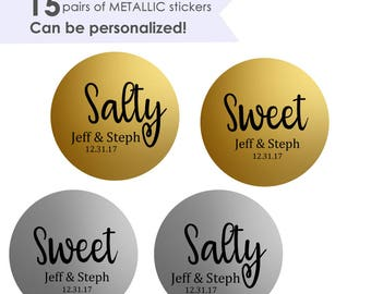 "Sweet and Salty- Sweet Salty Stickers- Wedding Favor Stickers- Wedding Favor Labels- 15 pairs of 1.5"" Favor Stickers"