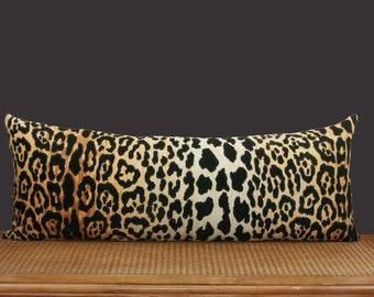 Extra long lumbar pillow cover Leopard velvet Braemore Jamil  10x28 12x36 14x26 13x34 14x31 14x36 18x34 18x38 20x26 20x36