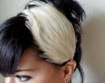 beige feather headband or hair clip- bridal feather fascinator - feather hair piece - hair accessories for women - women gift - AMELIE