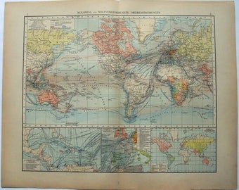 Colonial & World Traffic Map - 1896 Original by Velhagen and Klasing. Antique