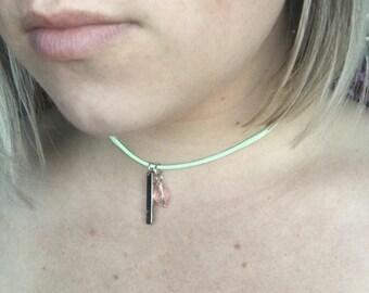 Beautiful Boho Faith Charm Choker Necklace with VEGAN You Pick Cord Color!