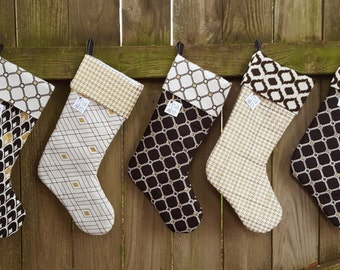 Christmas Stockings (Black and Gold, Quilted)