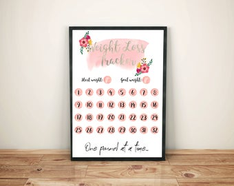 Framed Weight Loss Tracker Print | Weight Loss Motivation, Floral Print, Customisable, Personal, Slimming World, Fitness Health Diet Planner