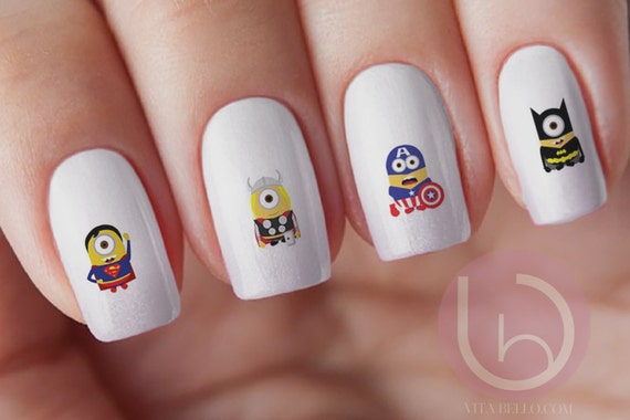 Super Hero Minion, Nail Design, Nails, Press On Nail Decal, Nail Design,  Nail Art from VitaBelloVogue on Etsy Studio - Super Hero Minion, Nail Design, Nails, Press On Nail Decal, Nail