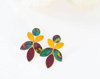 Leaf Earrings, Large Stud Earrings, Large Drop Earrings, Bohemian Earrings For Women, Gold Bridesmaid Jewelry, Valentines Gifts