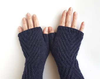 Fingerless Navy blue gloves, wool handwarmers, cable knit armwarmers, womens mittens, handknit mitts, winter gloves