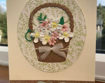 Birthday card with a flower basket on front