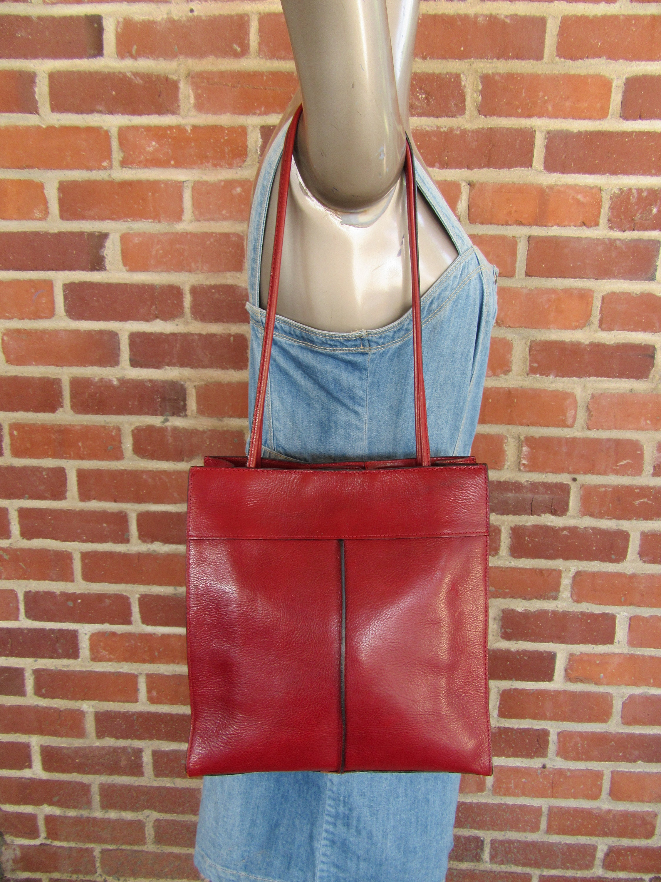 90s Red Leather Tote Leather Shopper Tote Glazed Red Leather