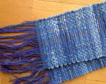 Handwoven Denim Log Cabin Table Runner,Blues, Purple and Burgandy