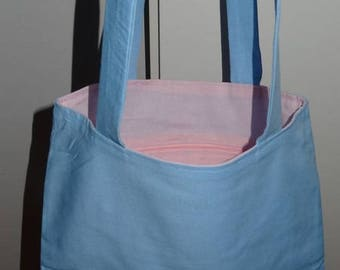 "Light blue and light pink ""summery"" tote bag"