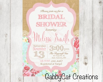 Shabby Chic Bridal Shower Invitation - Floral Bridal Shower - Burlap and Lace Invitation - Shabby Chic Invitation -PDF