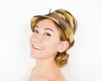 60s Cloche Hat | Tan Brown Wool Hat with Bow