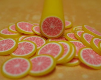Polymer clay cane fruit pink grapefruit 1pcs for miniature foods decoden and nail art supplies