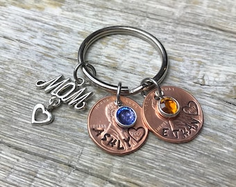 Mothers Day Gift, Personalized Keychain, Mom Gift, Mom Birthday Gift, Mom Penny Keychain, Customized Mom Keychain, Gift For Mom, Mother