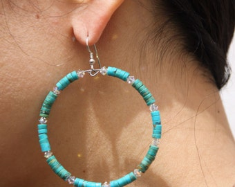 1 Turquoise Stone Hoop Earrings   swarovski crystals AWESOME TURQUOISE