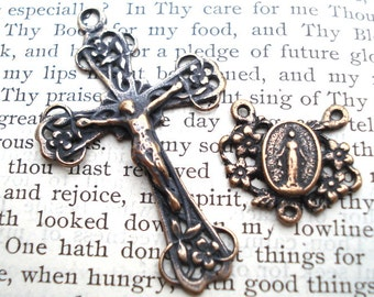 Daisy Rosary Set - Rosary Center - ROSARY Set - Bronze or Sterling Silver- Vintage Replica - Made in the USA