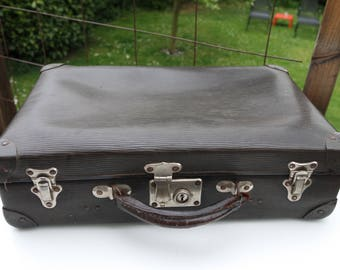 Vintage 30s black cardboard suitcase