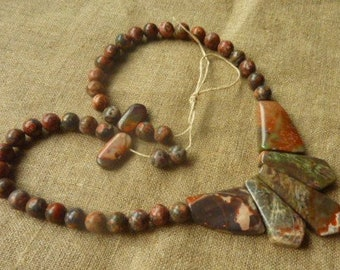 Jasper stone beads 47 * 0.8 4 cm * necklace to make