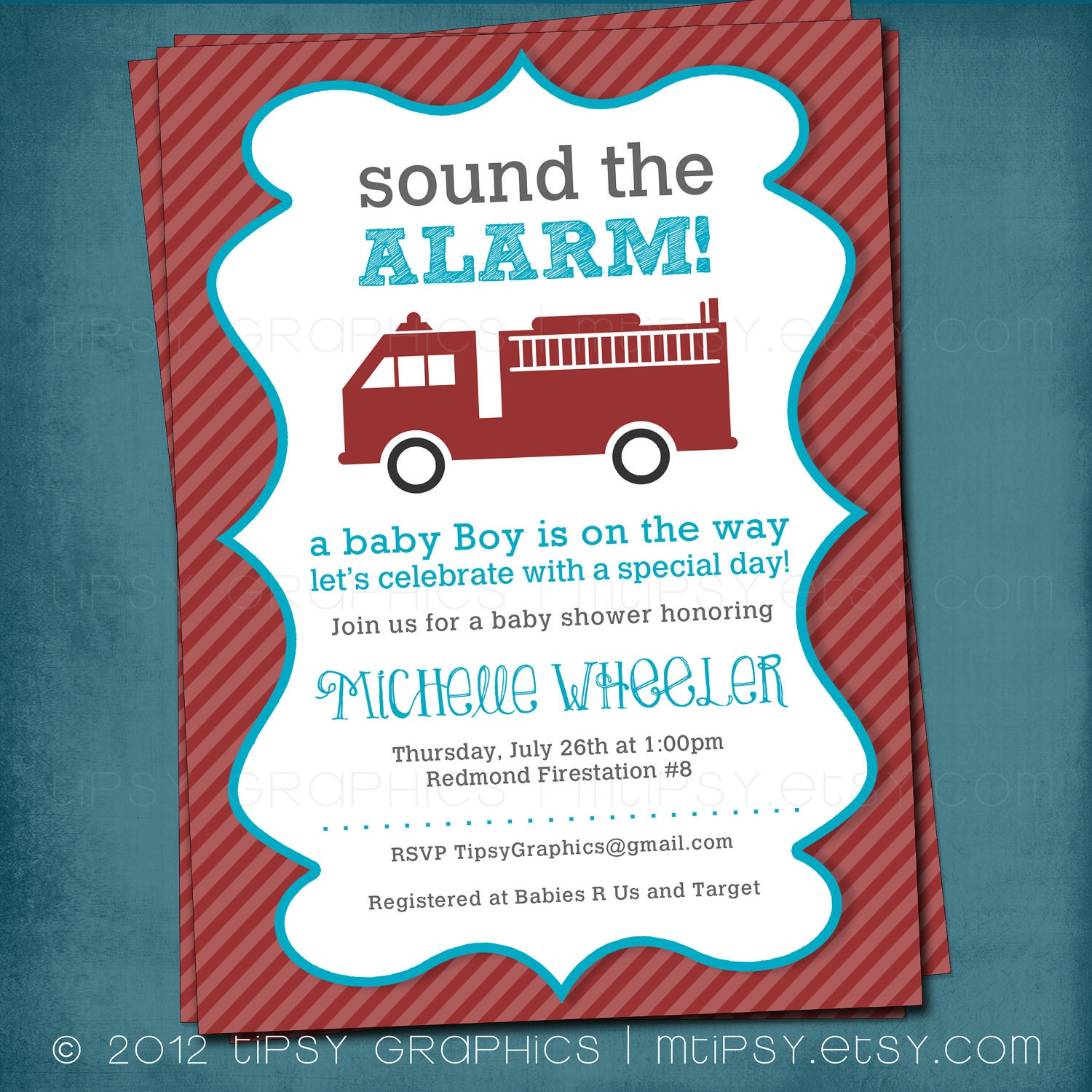 Sound the Alarm. Little Red Firetruck Baby Shower or Party