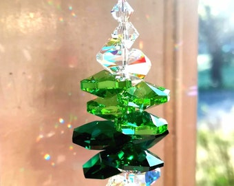 Swarovski Green and AB Sun Catcher Light Catcher Swarovski Crystal Suncatcher Rainbow Maker Crystal Prism AB Crystal Suncetcher for windows