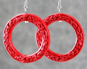 Red carved resin big hoop Earrings bridesmaids gifts Free US Shipping handmade Anni Designs