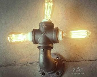 Wall Light. Ceiling Light. Vanity Light. Sconce. Industrial. Steampunk. Edison. Triple bulb.
